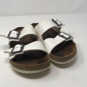BIRKENSTOCK White Leather Double Strap Sandals